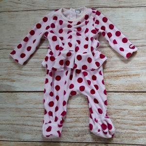 Taille pink velour polka dot footie sz nb & 3m